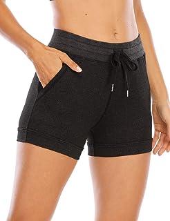Uoohal Women's High Waist Athletic Shorts Drawstring Workout Yoga Running Active Jogger Short with Pockets