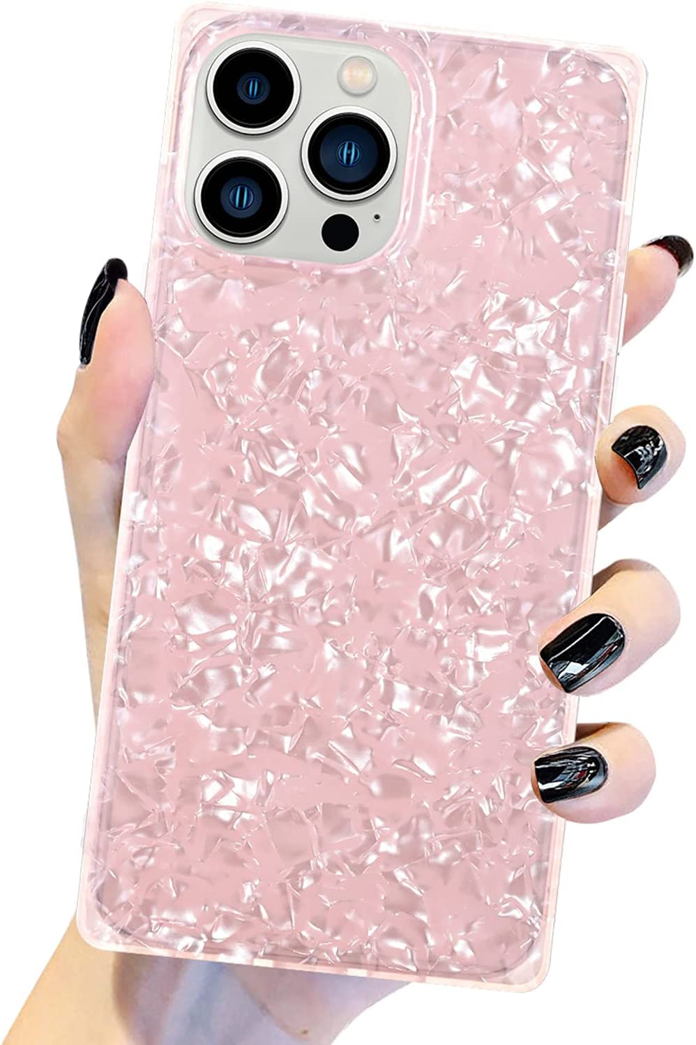 Muntinfe Designed for iPhone 13 Pro Case 6.1 Inch, Cute Fashion Pearl Sparkle Glitter Square Marble Slim Case for Women Girls Soft TPU Silicone Protective Shockproof Phone Cover, Pink