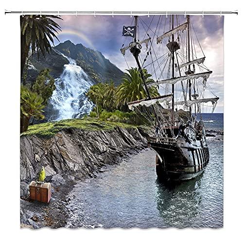 Cortinas de Ducha Impermeables Europea Retro Ferry Baño Tela de poliéster Baño Lavable Decoración para el hogar S.11 180x200cm