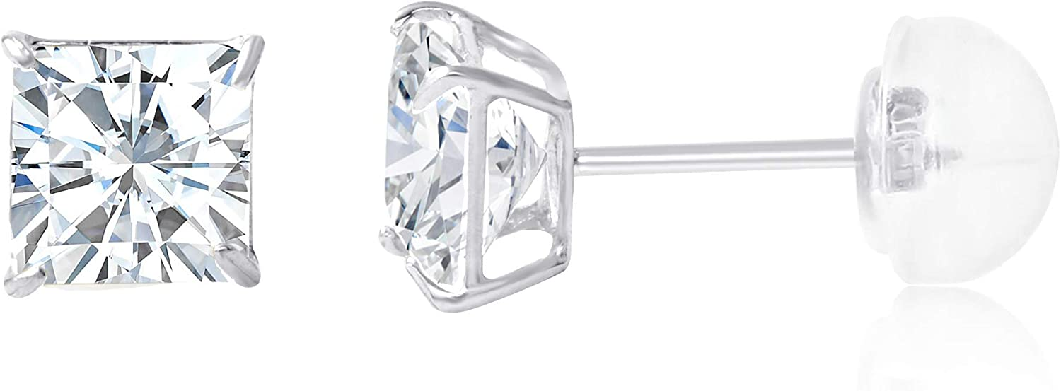 14K Gold Square Solitaire Princess Cut Cubic Zirconia CZ Stud Push Back Earrings in Yellow OR White (Various Sizes)