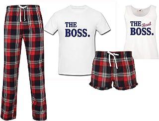 60 Second Makeover Limited The Boss The Real Boss Couples Matching Pyjama Tartan Set Couples Pajamas Christmas Birthday