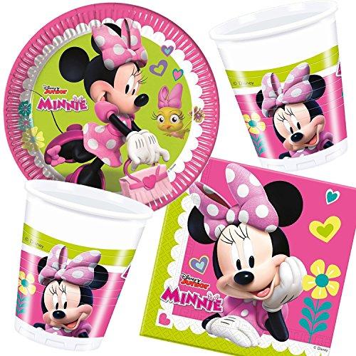Procos/Carpeta 37-teiliges Partyset * Minnie - Happy Helpers * für Kindergeburtstag und Motto-Party // mit Teller + Becher + Servietten + Deko // Kinder Geburtstag Minnie Maus Mouse