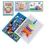 Kesote Juego de Mosaicos Puzzles 3D Clavos de Setas Juegos Educativos Rompecabezas Niños (300 Piezas, 3 Tamaños)