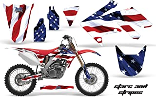 AMR Racing MX Dirt Bike Graphic Kit Sticker Decals Compatible with Honda CRF250R 2004-2009 - Stars & Stripes