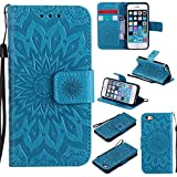 pinlu® PU Leder Tasche Etui Schutzhülle für Apple iPhone 5 / 5S / SE Lederhülle Schale Flip Cover Tasche mit Standfunktion Sonnenblume Muster Hülle (Blau)