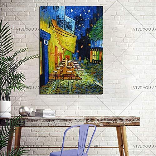 CHASOE Night Cafe Cafedusoir Van Gogh Ölgemälde Reproduktionen Handgemalte Leinwand Ölgemälde Abstrakt Für Schlafzimmer Wanddekorkunst 70X100 cm