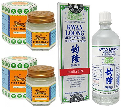 2 Schön of Tiger Balm White Ointment 30 GM/Jar + Kwan Loong Medicated Oil 57 ml (Largest Size.)