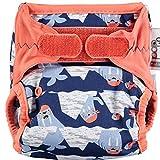 Close Pop in Pañal individual lavable de tela 1pc pañal lavable de bambú para bebe, pañal ajustable y reutilizable para bebés antiescapes estampado walrus, Azul Oscuro