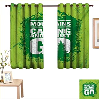 MartinDecor Adventure Thermal Insulating Blackout Curtain Grungy Display Mountains and Retro Letters Call of The Woods 63