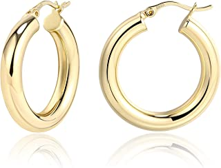 14K Gold Plated Thick Chunky Hoop Earrings for Women | Small Hypoallergenic Sterling Silver Post Simple Tube Hoops | Light...