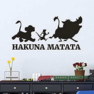 Edvoynlm Wall Decals Stickers Decor Hakuna Matata Wall Decal Sticker, Lion King Wall Decal Cartoon Timon and Pumbaa Vinyl Sticker Home Bedroom Nursery Boy Baby Kids Room Art Decor Mural