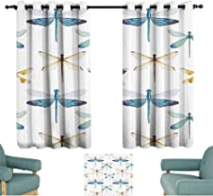 Mannwarehouse Dragonfly Durable Curtain Collection of Regularly Dragonfly Pattern Short Lives Symbol Composition of Bugs Noise Reducing 72