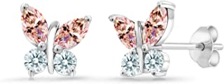 Platinum Plated 925 Silver Stud Butterfly Earrings 6x3mm Set with Morganite Peach Zirconia from Swarovski