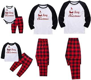 Sameno Family Baby Dad Mom Boy Girl Christmas Matching Pajamas Santa Plaid Top Pants Xmas Sleepwear Set