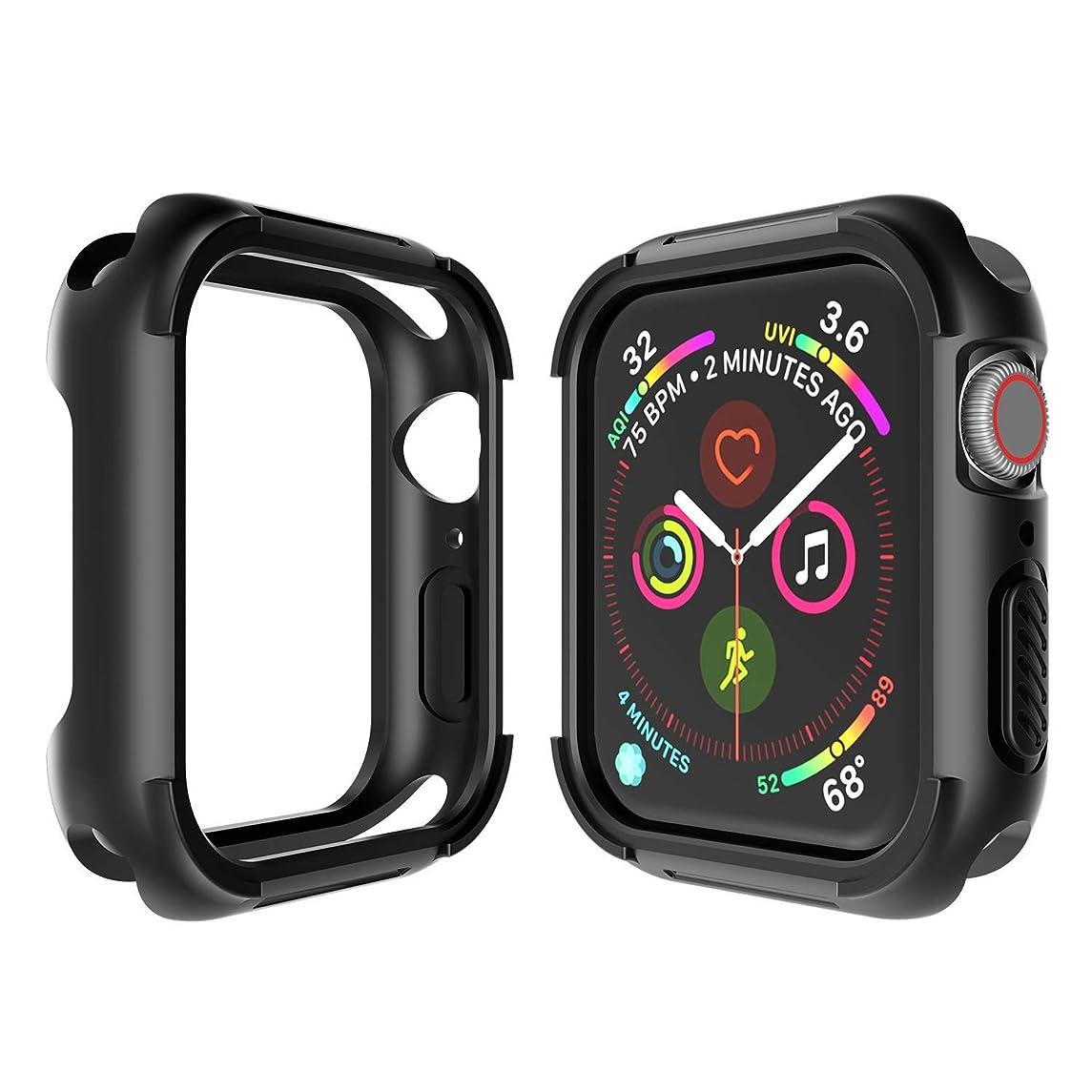 Seiaol Apple Watch series 4 ケース TPU+PC素材 高品質 耐衝撃 アップルウォッチ シリーズ 4 落下防止 保護ケース 着装まま充電可能 Apple Watch Series 4 専用 精密操作 高感度&高級感 防汗防水(44MM, 黒)