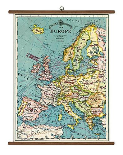 Cavallini Vintage Poster Set extra groß mit Holzleisten (Rahmen) und Schnur zum Aufhängen, Motiv Europa Karte, Europe Map