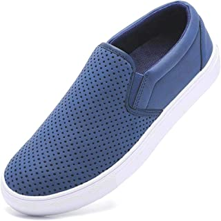 GOUPSKY Slip on Sneakers for Women Fashion Loafers Perforated Flats Sports Cushioned Insole Comfortable Walking Casual Shoes