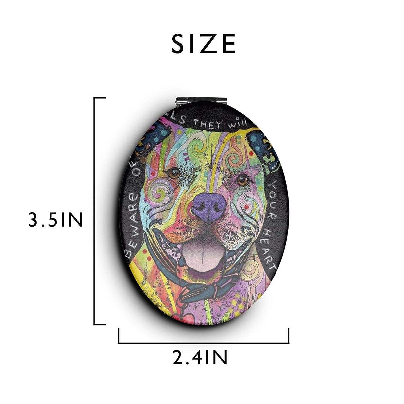 アーティキュレーション平和的平均化粧鏡 コンパクトミラー ピットブルズ 手鏡 携帯ミラー 折りたたみ鏡 拡大鏡 両面ミラー