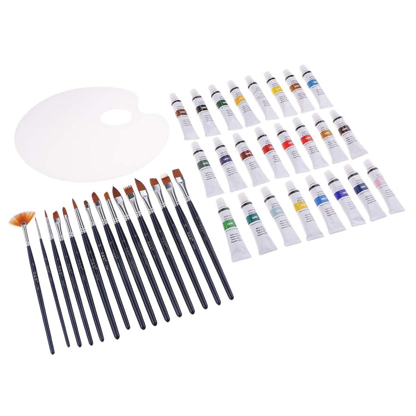 分析的なオリエンタル手首ヘアブラシ アクリル塗料 パレット バッグ付き 子供用 大人用 芸術家用 初心者用 約40個/セット