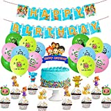 CYSJ 42 PCS Cocomelon Decoración para Fiestas de Cumpleaños con Remolino Colgante Banner Cake Topper Feliz Cumpleaños Cocomelon de Tarta Adornos de Casa para Niño Decoración Fiestas