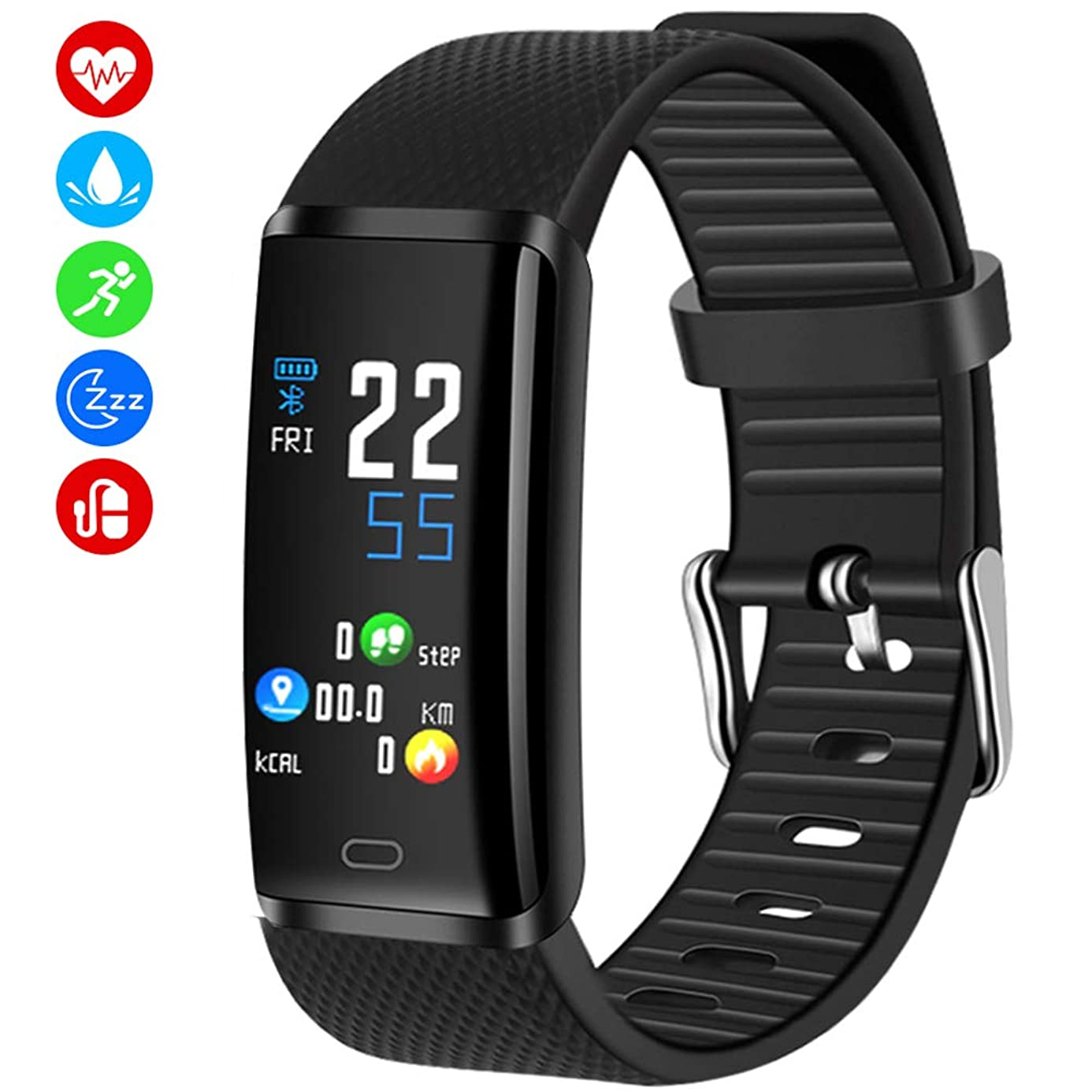 MINLUK Fitness Tracker, Activity Tracker with Pedometer Blood Pressure Heart Rate Monitor IP67 Waterproof Wristbands, Calorie Counter Watch, Sleep Monitor, Calls/SNS/SMS Remind for Men Women