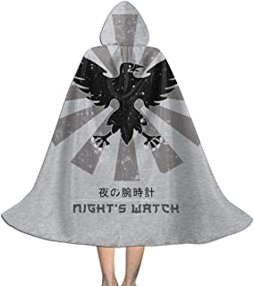 Nights Watch Crow Retro Japanse Game of Thrones Unisex Kids Hooded Cloak Cape Halloween Xmas Party Decoration Role Cosplay Costumes Black