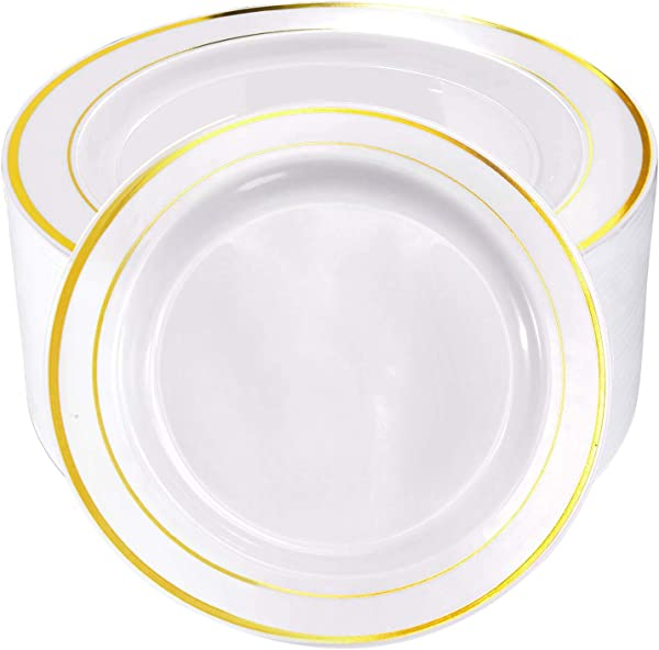 60pcs Plastic Gold Plates 10 25 Inch Gold Rimmed Dinner Plates White Disposable Plates For Parties Or Wedding