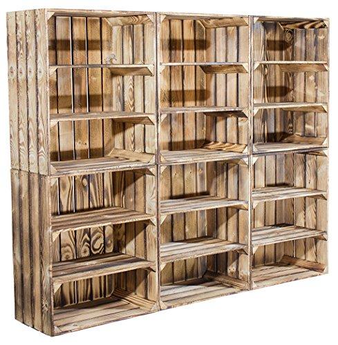 6er Set hohe Regalkiste mit 2 Böden *geflammt* - große neue Obstkiste mit Ablage flambiert / flammbiert - Schuhregal Bücherregal Schuhschrank Schuhkiste Holzkiste Kistenregal dunkel 61x50x31cm