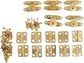 5 Stuks Antieke Gouden Sieraden Houten Box Buckle 26 × 15 Mm (1,02 X 0.59in) + 10 Stuks Kabinet Scharnier 16 × 13mm (0,63 ...