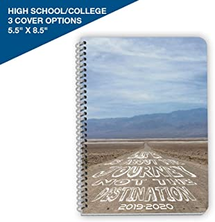 Dated High School or College Student Planner 2019-2020 Academic Year, 5.5x8.5 inch Block Style Datebook with Campus Journey Cover
