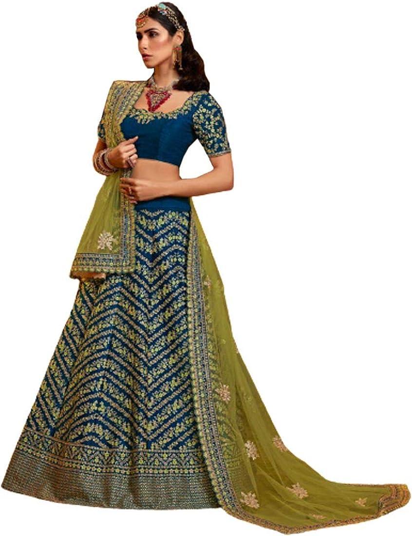 Blue Desinger Wedding Wear New popularity Raw Silk Lehenga Pink Bombing new work Net Liril Choli