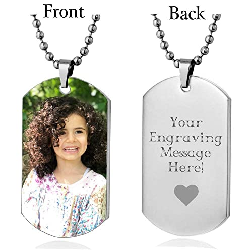 Interway Trading Personalized Custom Photo High Polished Color Engraved Dog Tag Necklace Pendant and 24 inch