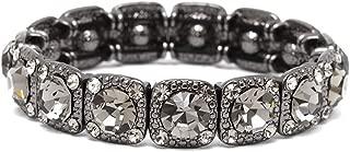Vintage Black Diamond Crystal Stretch Bracelet - Adjustable Bangle for Prom, Bridesmaid & Fashion