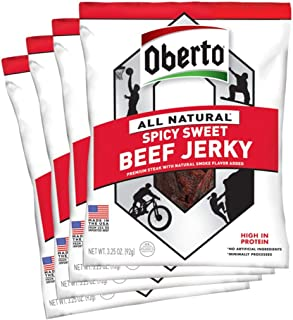 Oberto All-Natural Spicy Sweet Beef Jerky, 3.25 Ounce (Pack of 4)