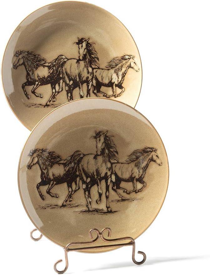 SALE 超歓迎された Wild Western Horses Ceramic Dinner of Plate Set 4