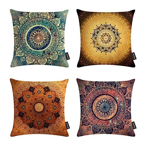 Ussuperstar Set of 4 Throw Pillow Covers Decorative Boho Cushion Cover Throw Floral Printed Pillow Case 18 X 18 Inch Pillowcase Multicolor(Boho 04)
