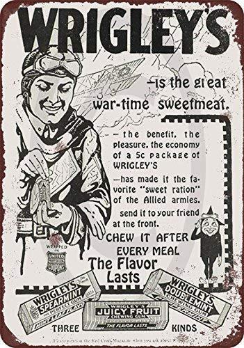 cwb2jcwb2jcwb2j 1918 Wrigley's kauwgom vintage look reproductie metalen bord 8 x 12