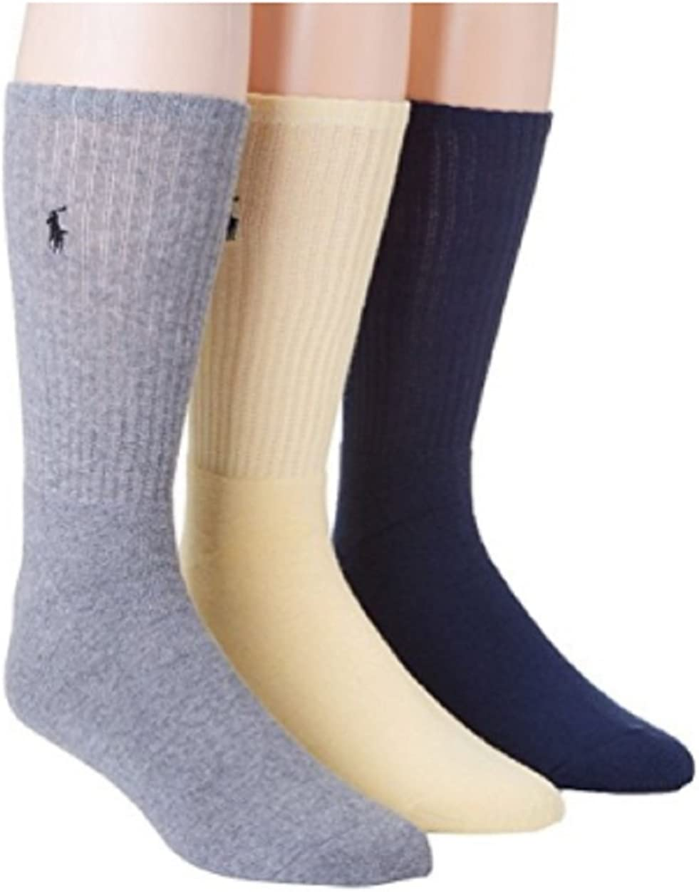 Polo Ralph Lauren 3 Pack Ribbed Cushion Foot Crew Socks Oatmeal SIZE:10-13 Assorted color