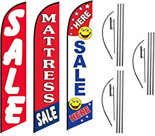 Mattress Store and Outlet Sale Signs, 3 Pack Advertising Package of Mattress Sale, Red Sale, Sale Here Feather Banner Swooper Flag Kits with Ground Spikes