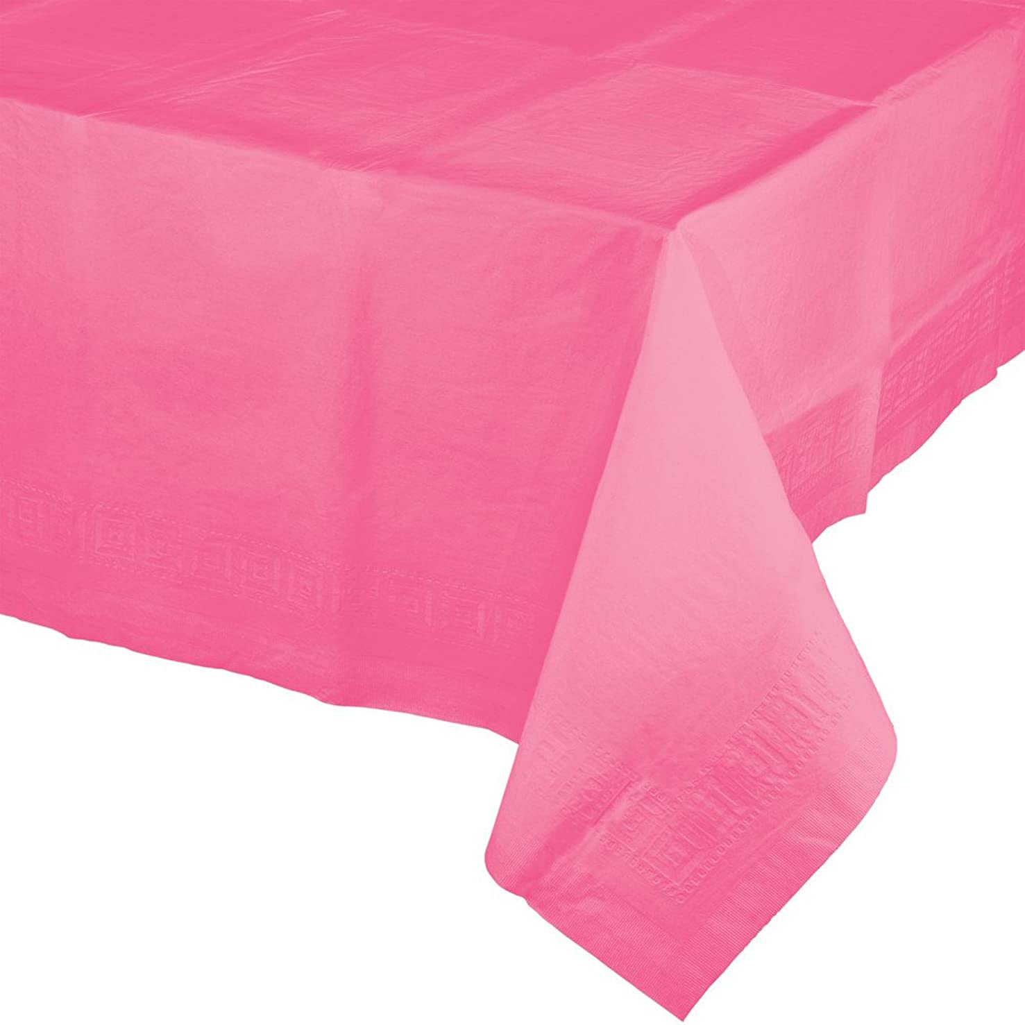 Creative Converting 6 Count Touch of Color Paper Table Covers with Poly Backing, Candy Pink