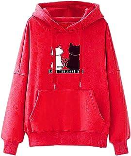 Sudadera de Mujer riou Sudadera Casual Invierno Baggy Cat Jumper Pullover Tops Mujer Otoño-Invierno Talla Grande Bolsillo ...