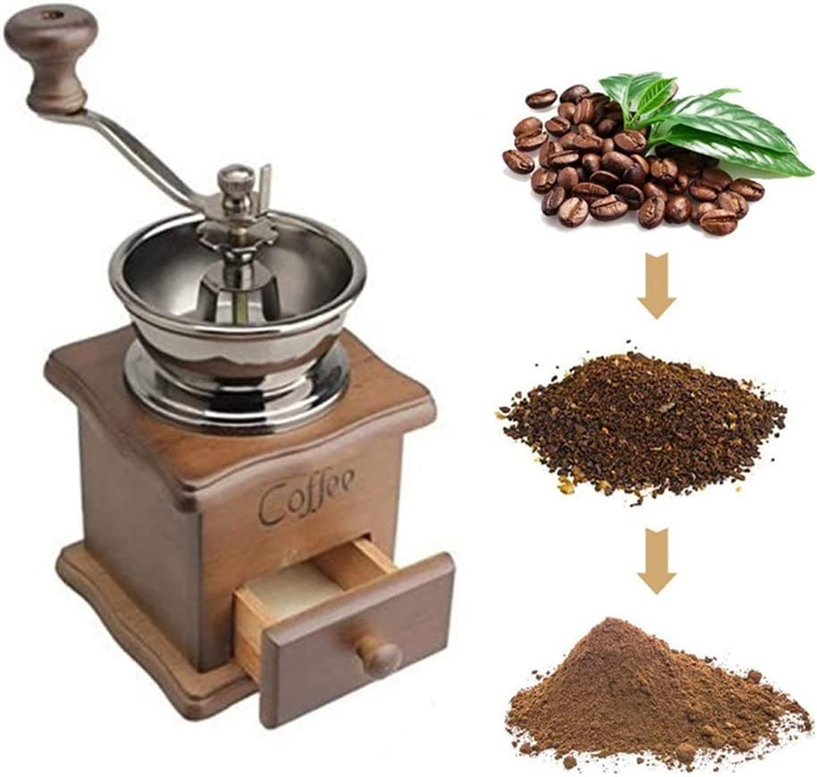 Manual Coffee Grinder Wood Vintage Antique Free shipping Max 82% OFF on posting reviews Crank Hand Ceramic Co