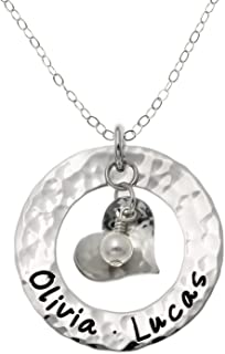 Endless Love - Personalized Sterling Silver Washer Name Necklace With Heart and Swarovski Synthetic Pearl. Customize with names of your choice Includes Sterling Silver Cable, Box, or Ball Chain