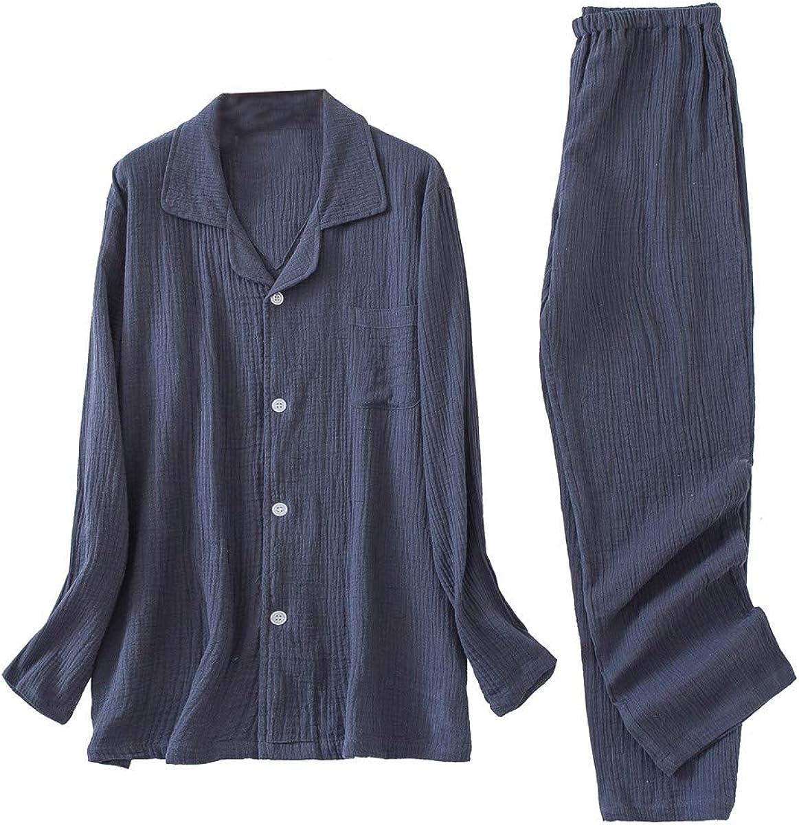 Shanghai Story Doube Sided Crepe Cotton Pajamas Set for Couple Men Women Long-Sleeve Button Down Sleepwear