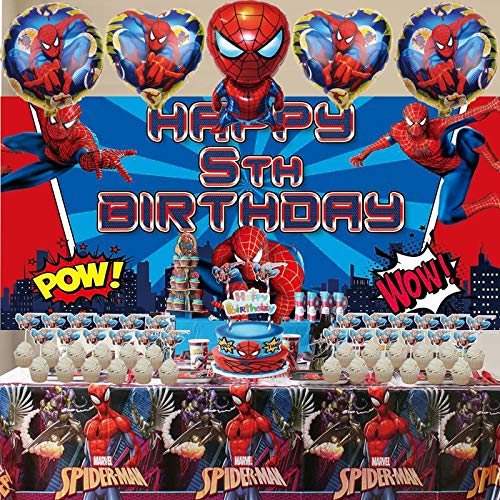5th Spiderman Party Supplies | Decorations | For Boy | Banner | Backdrop | Balloons | Birthday | Set | Decor
