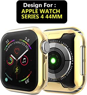 Market Affairs Soft Flexible TPU Protective Case Cover Compatible with Apple Watch 44mm Series 4 and Series 5 - Gold