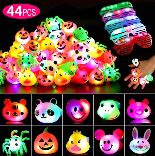 44 Pcs Party Favors for Kids/Adults, Prizes Flashing LED Light Up Jelly Rings Birthday Gifts Glow in The Dark Party Supplies Rings Glasses for Boys/Girls - 11 Color 11 Shape