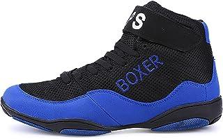 HwwPrime High Top Boxing Shoes, Unisex Spliced vamp Boxing Shoes,Blue,47 EU