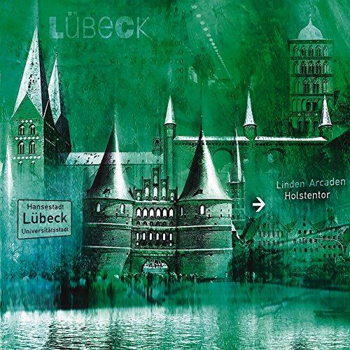 Artland Qualitätsbilder I Glasbilder Deko Glas Bilder 20 x 20 cm Architektur Architektonische Elemente Digitale Kunst Grün A8GJ Lübeck Hansestadt Collage 05