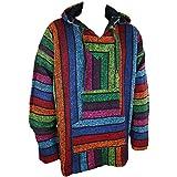 Maglione messicano stile baja e jerga con cappuccio, colorato, strisce arcobaleno, stile hippie, per festival, taglie S, M, L, XL, XXL multicolore XL